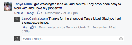 I got Washington land on land central. They have been easy to work with and I love my property!!!